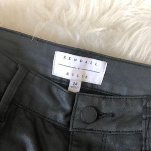 Kendall+Kylie Black Coated Jeans Ripped at Knee 24